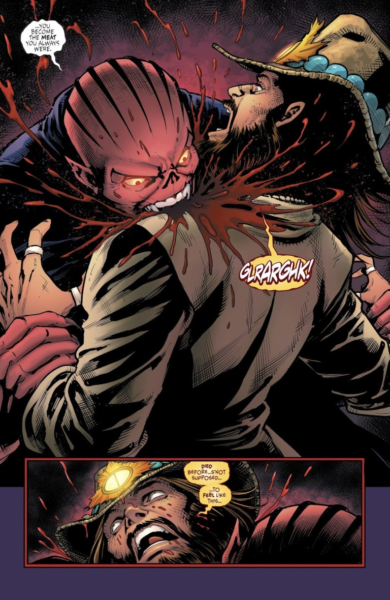 In 'The Unexpected' (2019) #7, Mandrakk feeds on the Bad Samaritan, who is powered by the Fires of Destruction.