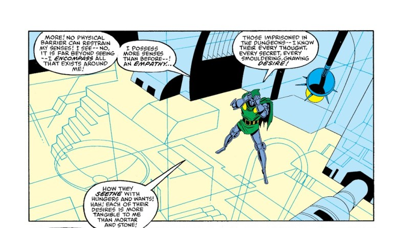 In 'Marvel Super Heroes Secret Wars' (1985) #10, Doctor Doom's new-found omnipotence encompasses all reality.