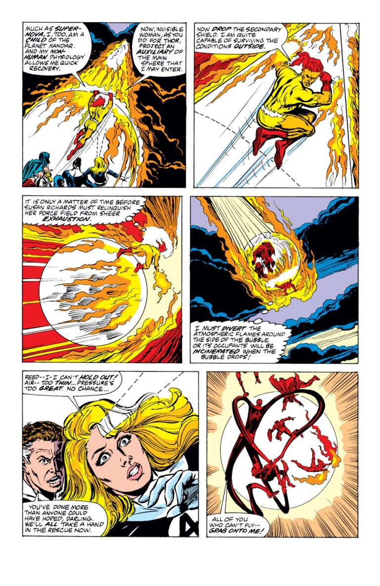 In 'Avengers' (1989) #302, Firelord removes the flames off Invisible Woman's construct in re-entry.
