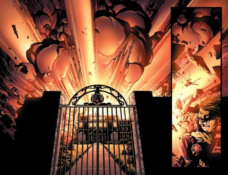 In 'Avengers' (2004) #500, Jack of Hearts detonates an explosion that destroys Avengers Mansion.