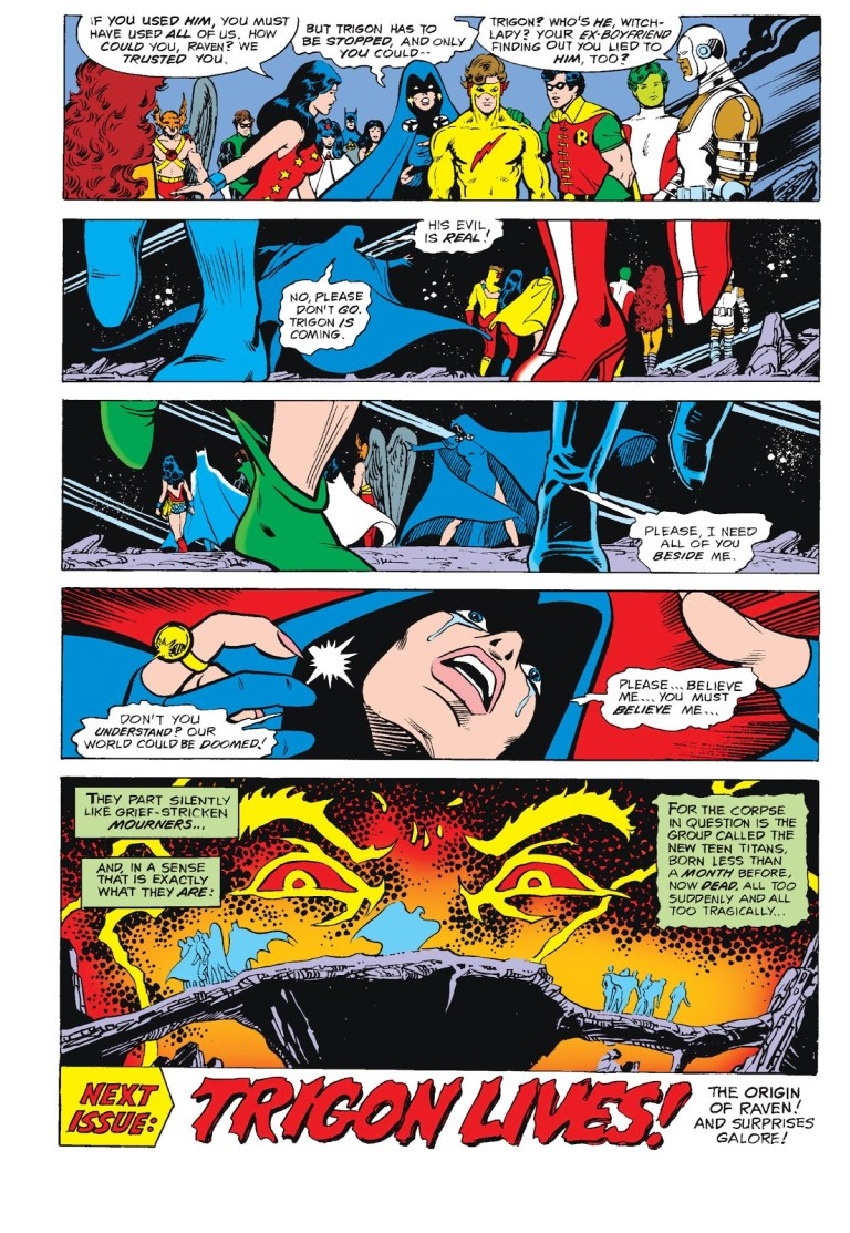 In 'New Teen Titans' (1981) #4, the Justice League and the New Teen Titans abandon Raven.