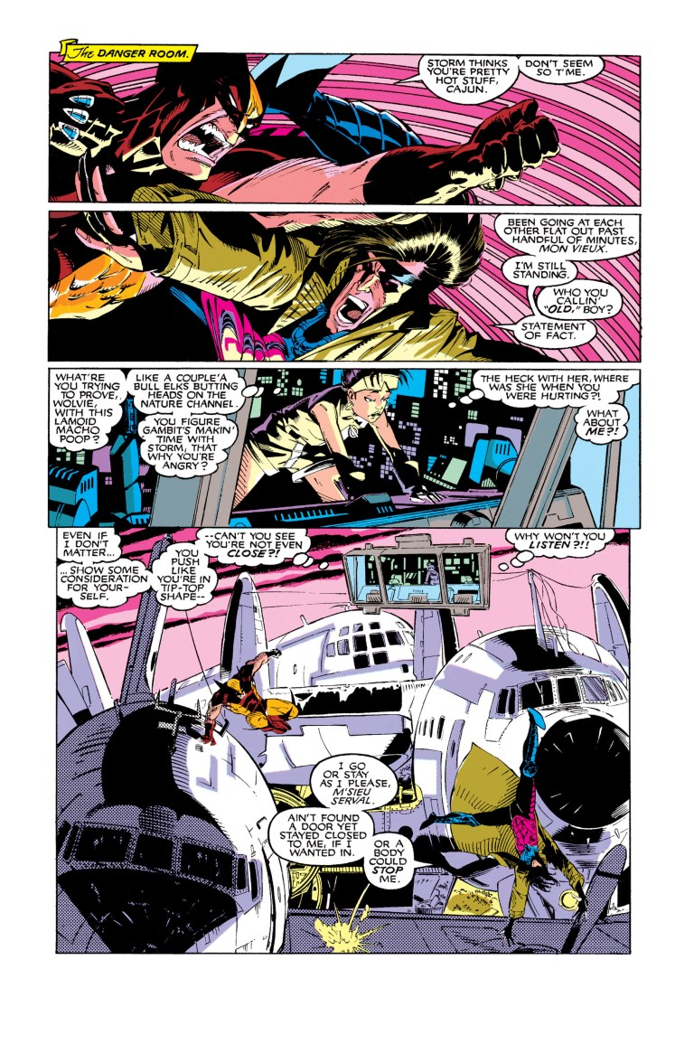 In 'Uncanny X-Men' (1991) #273, Gambit spars with Wolverine.