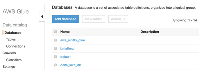 Validating a database list using the AWS Glue console