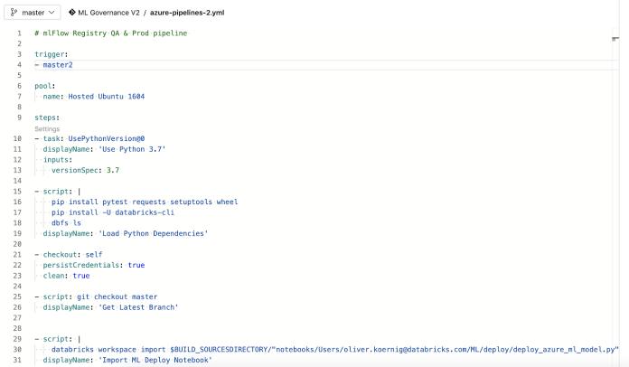 Sample YAML file defining the DevOps pipeline.