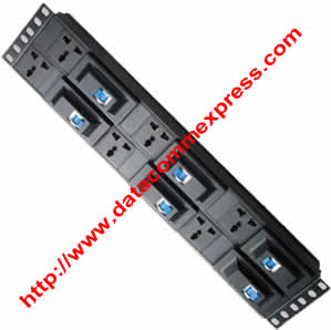 2U 6 Way UK Socket  Horizontal  PDU with individual Mcb for each Socket 3m Cable