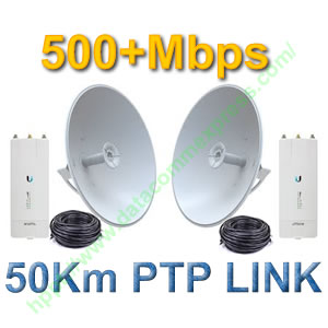Ubiquiti airFiber 5X with 30dbi and 50m Cable PTP Link
