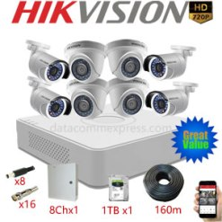 8 Camera 1MP Hikvision Pakage with 4 x DS-2CE56C0T-IRP, 4 x DS-2CE16C0T-IRP, DS-7108HGHI-F1, 1TB