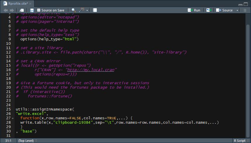 correcting Rprofile final line error