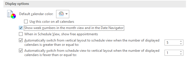 show week numbers in Outlook calendar