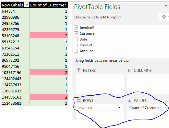 identify and remove duplicates in Excel using pivottables