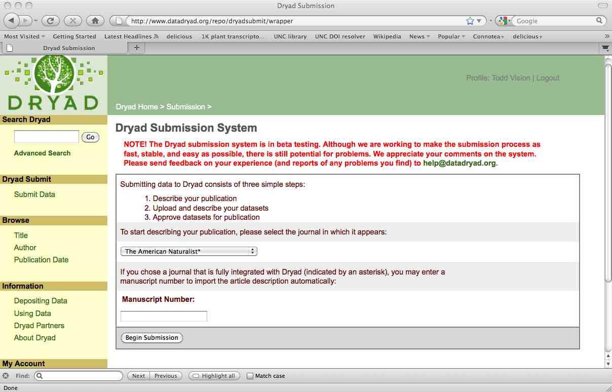 Dryad submission integration screenshot