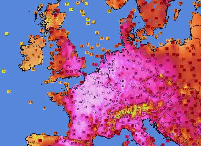 Weerkaart temperaturen Europa - Wit