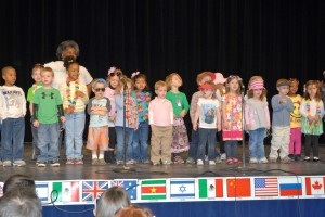 Children from the VGCC Main Campus Child Care Center, some in Hawaiian-themed attire, were the opening act on stage at the 2013 Cultural Fair. (VGCC photo)