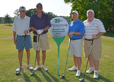 The team from Institutional Interiors, including from left, Tim Hill, Billy T. Stanton, Mike Baskett and Macy Foster, won the afternoon round of the 31st Annual Vance-Granville Community College Endowment Fund Golf Tournament at the Henderson Country Club on May 5. (VGCC Photo)