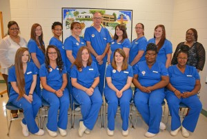 Seated, from left: graduating Medical Assisting students Morgan Hudgins, Whitney Kelsey, Courtney Pearce, Kaylah Norris, Joyce Ellis and Jennifer Crews; standing, from left: instructor Patrice Allen, students Kourtney Cockrell, Dominique Richardson, Melissa Tucker, Kevin Rumsey, Ashlee Dement Neal, Angela Whirley, Tabitha Winstead and program head Donna Gardner; not pictured: Melissa Norwood, Jessica Yarbrough. (VGCC photo)