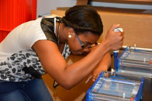 Dominique Anderson, a Southern Vance High School student, performs a lab procedure using DNA during the 2015 Mini-Medical School camp at VGCC's South Campus. (VGCC photo)
