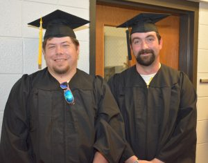 From left, Grant Stoner of Macon and Kyle Vipperman of Raleigh were the first two graduates of the associate degree in Welding in VGCC history. (VGCC photo)