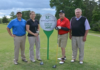 The Maria Parham team of, from left, Anthony Kidd, Emilee Johnson, Randy Williams and Mike Rainey placed third in the afternoon round of the 32nd Annual Vance-Granville Community College Endowment Fund Golf Tournament at the Henderson Country Club on May 23. (VGCC Photo)