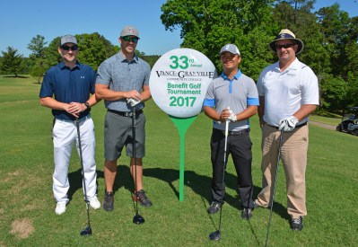 """The team of, from left, Billy Gillispie, Michael Patterson, Jordan Peterson and Tim Gemmell won """"first net"""" in the morning round of the 33rd Annual Vance-Granville Community College Endowment Fund Golf Tournament at the Henderson Country Club. (VGCC Photo)"""