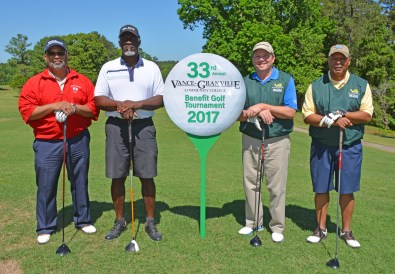 """From left, the team of, from left, Xavier Wortham, Cecil Lockley, Mike Bonfield and Darryl Moss won """"second net"""" in the morning round of the 33rd Annual Vance-Granville Community College Endowment Fund Golf Tournament at the Henderson Country Club. (VGCC Photo)"""