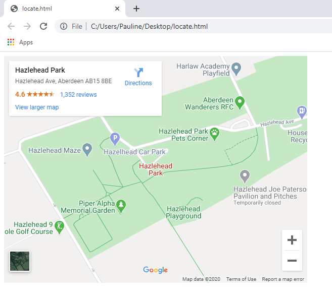 Inserted a Google map of Hazlehead Park Aberdeen
