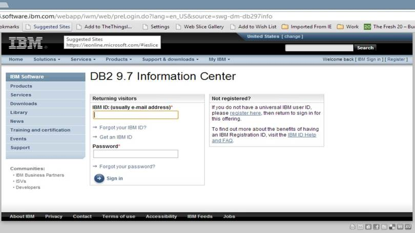 Screen shot of IBM ID login screen