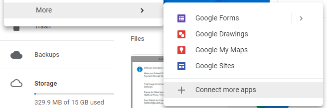 Google Drive New Button More Options