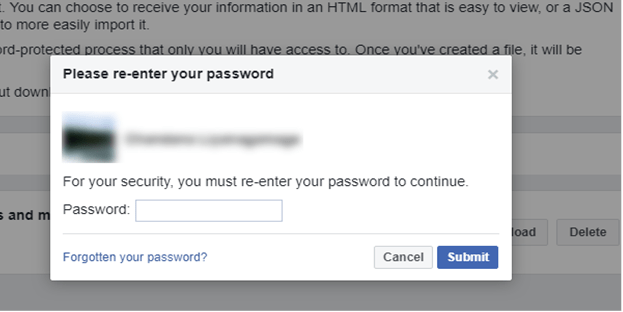Enter Password to Download Facebook