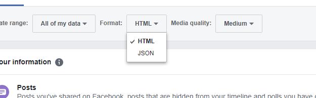 Facebook Download Format