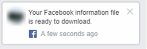 Facebook Information Ready Notification Popup