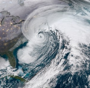 A Nor'easter passes along the Mid-Atlantic coast on January 4, 2018