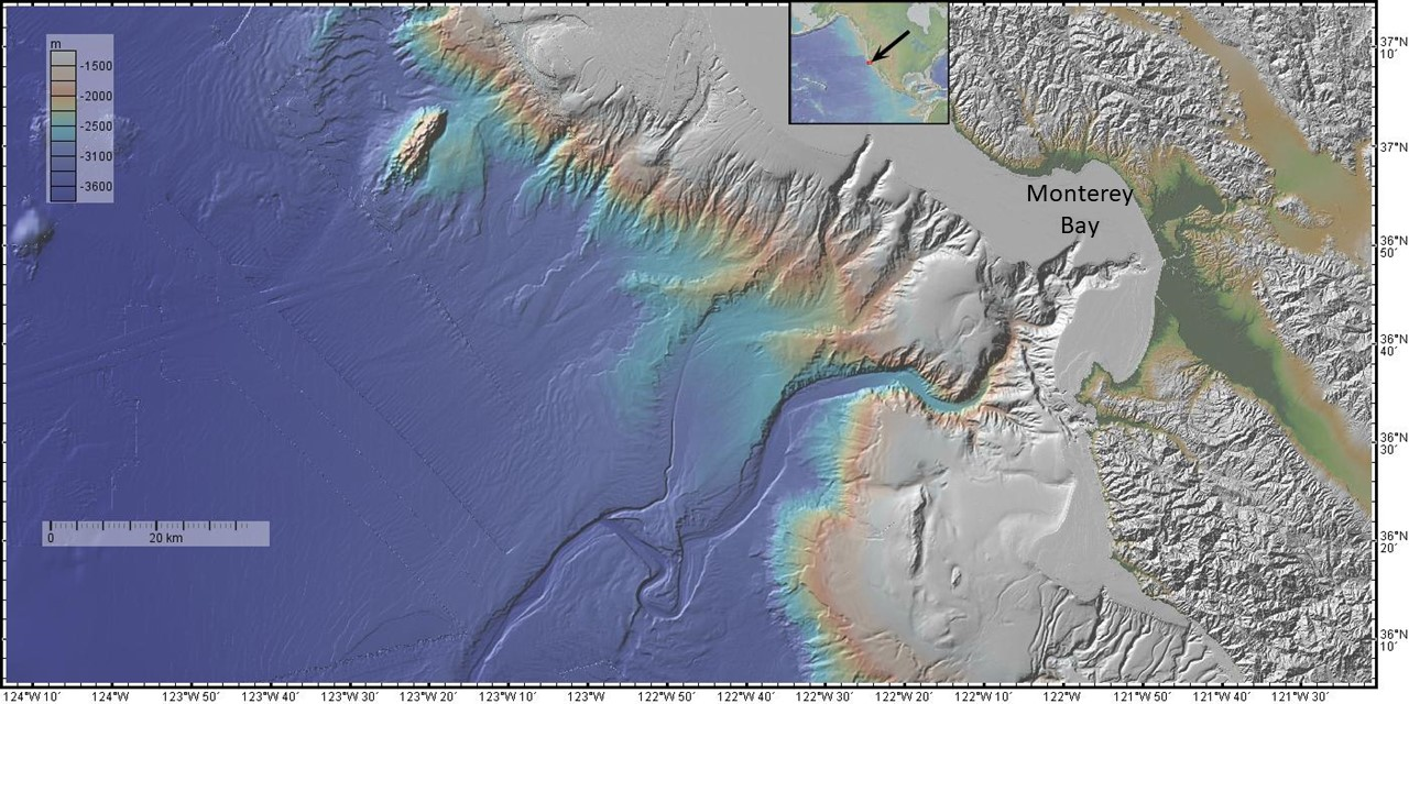 Bathymetric color chart for Monterey Bay