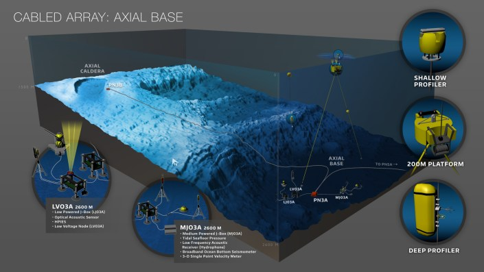 Schematic of the configuration of Regional Cabled Array instruments and platforms at the base of the Axial Seamount. Graphics Credit: OOI Cabled Array program & the Center for Environmental Visualization, University of Washington