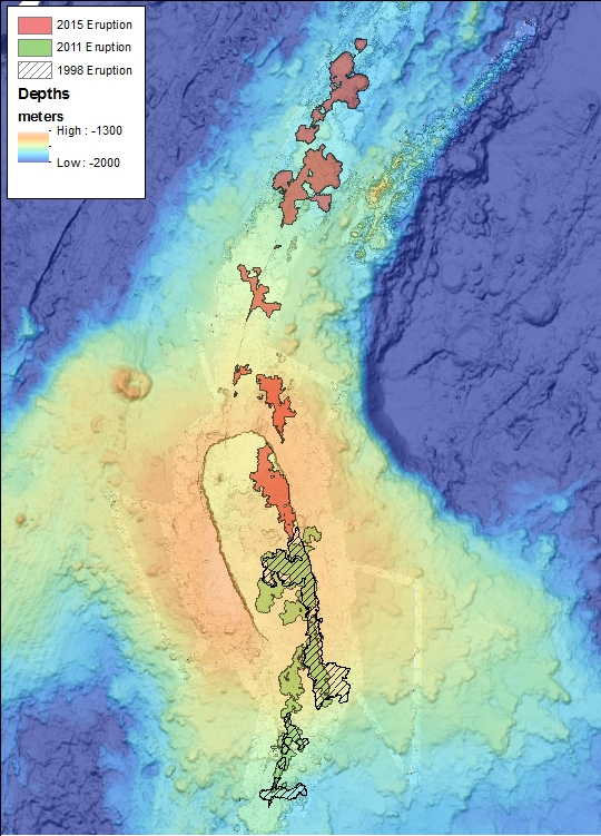 seafloor bathymetry image showing placement of lava by volcanic eruptsion