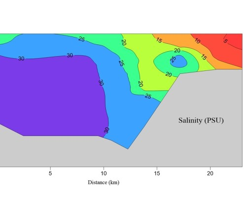 salinity data displayed with contour lines and color shading