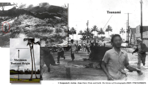 Once a tsunami wave reaches shore, it can arrive as a massive surge of water, several meters high. The bottom, center image denotes the height of the tsunami wave that is shown in the other two images. This wave hit Hilo, Hawaii in 1946