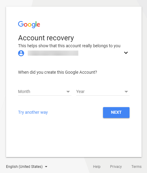 When Did you Create this Google Account Screen