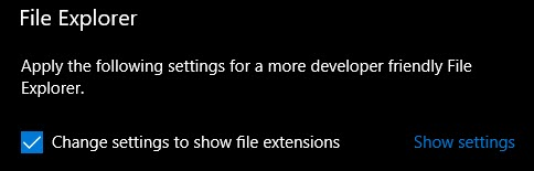 Change Settings to Show File Extensions