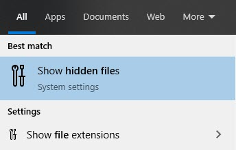 Show Hidden Files Windows