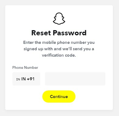 Enter Phone Number to Reset Password on Snapchat