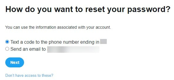 How Do you Want to Reset your Password in Twitter