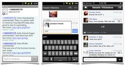 Google Plus post via SMS