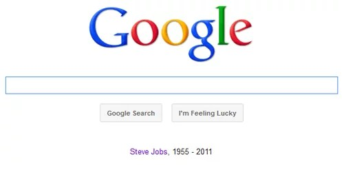 Google pays tribute to Steve Jobs