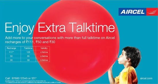 Aircel Mumabi Extra Talktime Offer