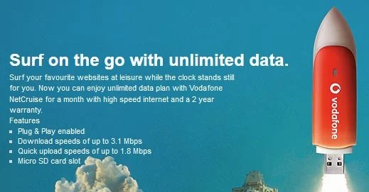 Unlimited Data Plan with New Vodafone NetCruise