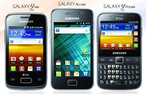 Samsung Dual SIM Android Smartphone - Galaxy Ace Duos, Galaxy Y Duos and Galaxy Y Pro Duos