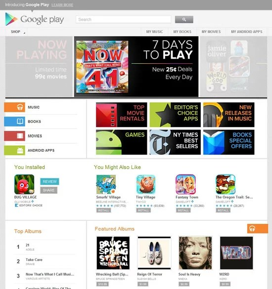 Google Play rebranded Android Market Preview