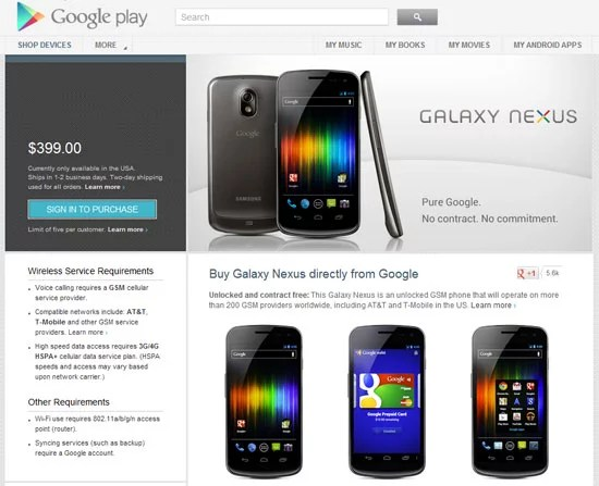 Google Nexus Devices now available through Google Play Store