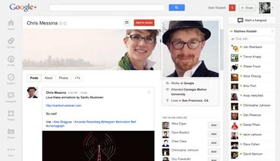 Google Plus enhanced Profile page Timeline