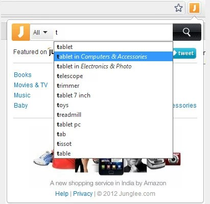 Junglee icon from Chrome bookmark bar for Quick product search